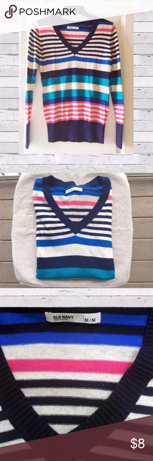 Old Navy striped sweater sz. M 53% cotton LIKE NEW | Navy stripes ...