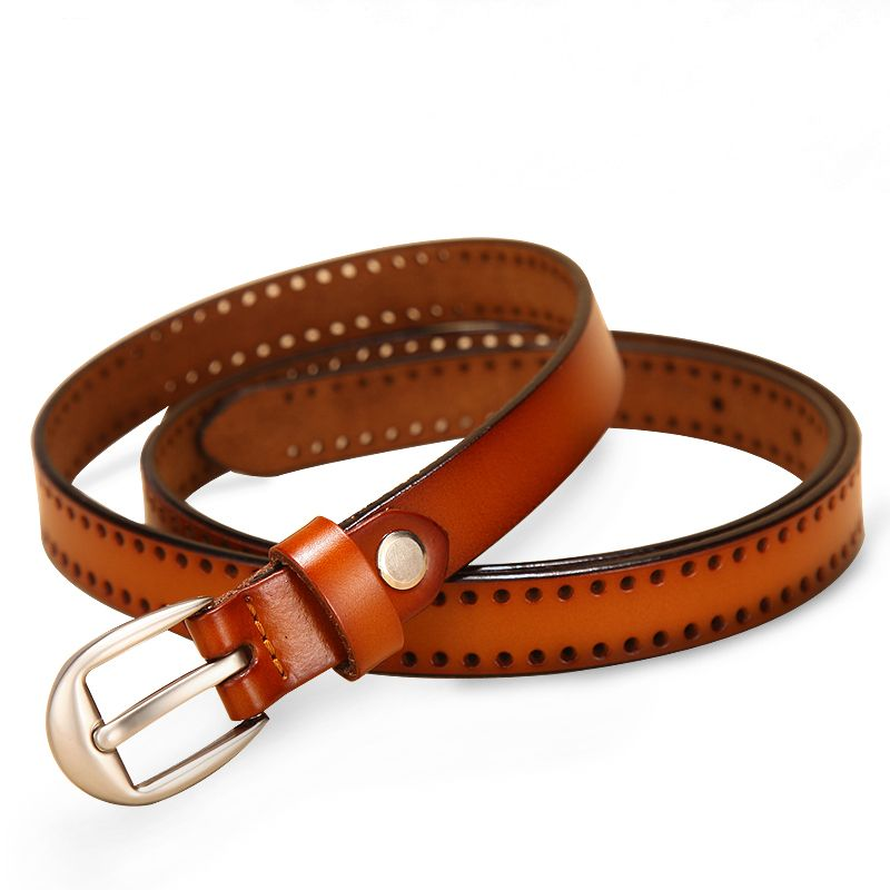 Mens vino leather belt with red-white stitching