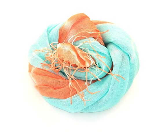 Mint and Coral Linen Scarf Womens Summer Scarf hand by Schalrausch