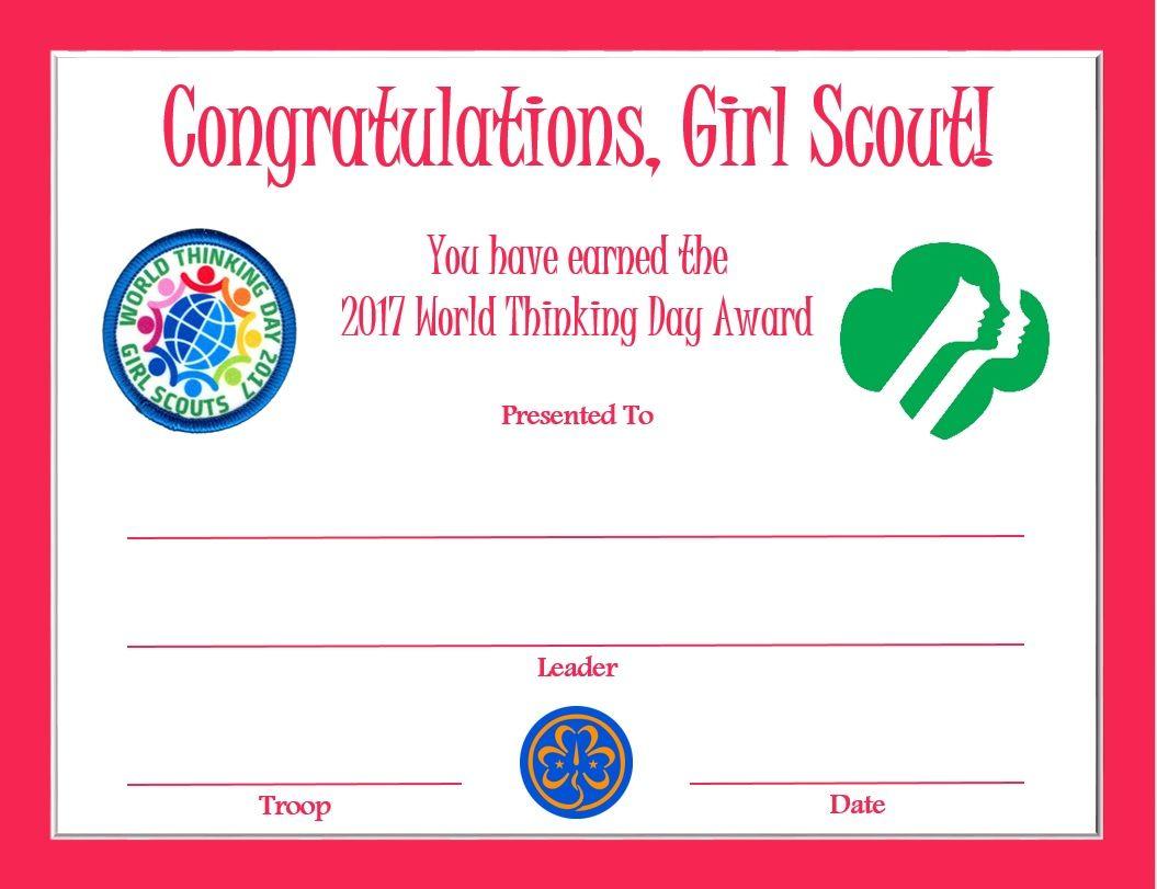 World Thinking Day Award Certificate