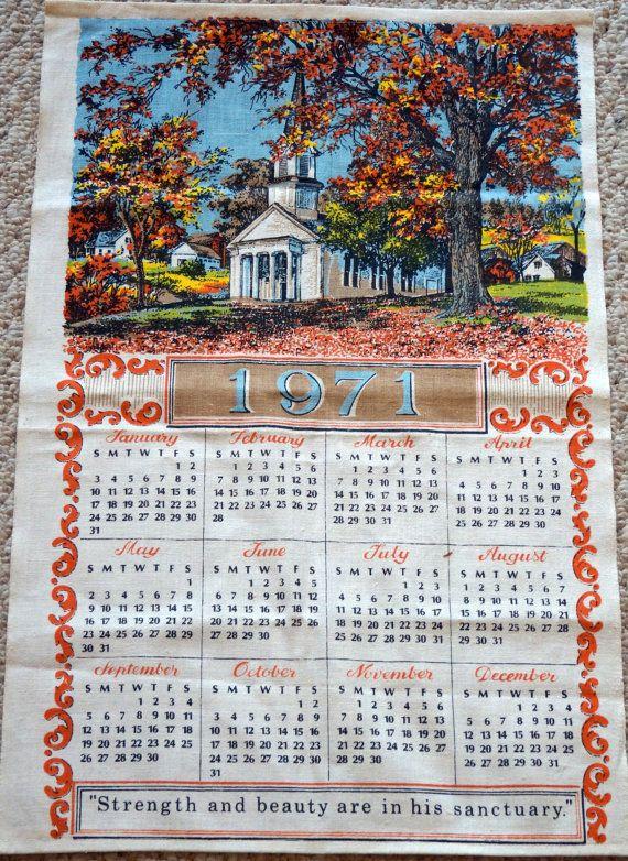 Vintage 1971 Cloth Calendar By Amyfindseverything On Etsy