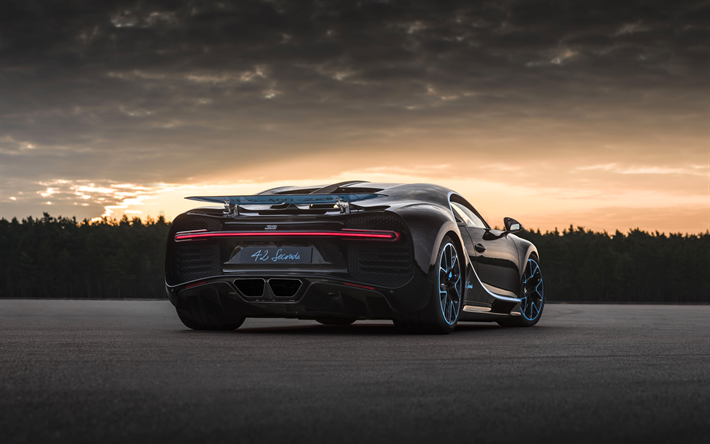 Download Wallpapers Bugatti Chiron 4k Back View 2017 Cars Hypercars Zero 400 Zero Tuning French Cars Bugatti Black Chiron Besthqwallpapers Com Bugatti Chiron Bugatti Cars Bugatti