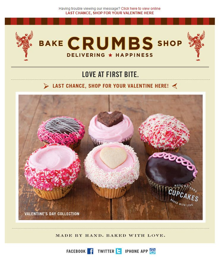 Have you started planning your #ValentinesDay email campaign? @Crumbs showcased these mouthwatering sweets for last year's campaign