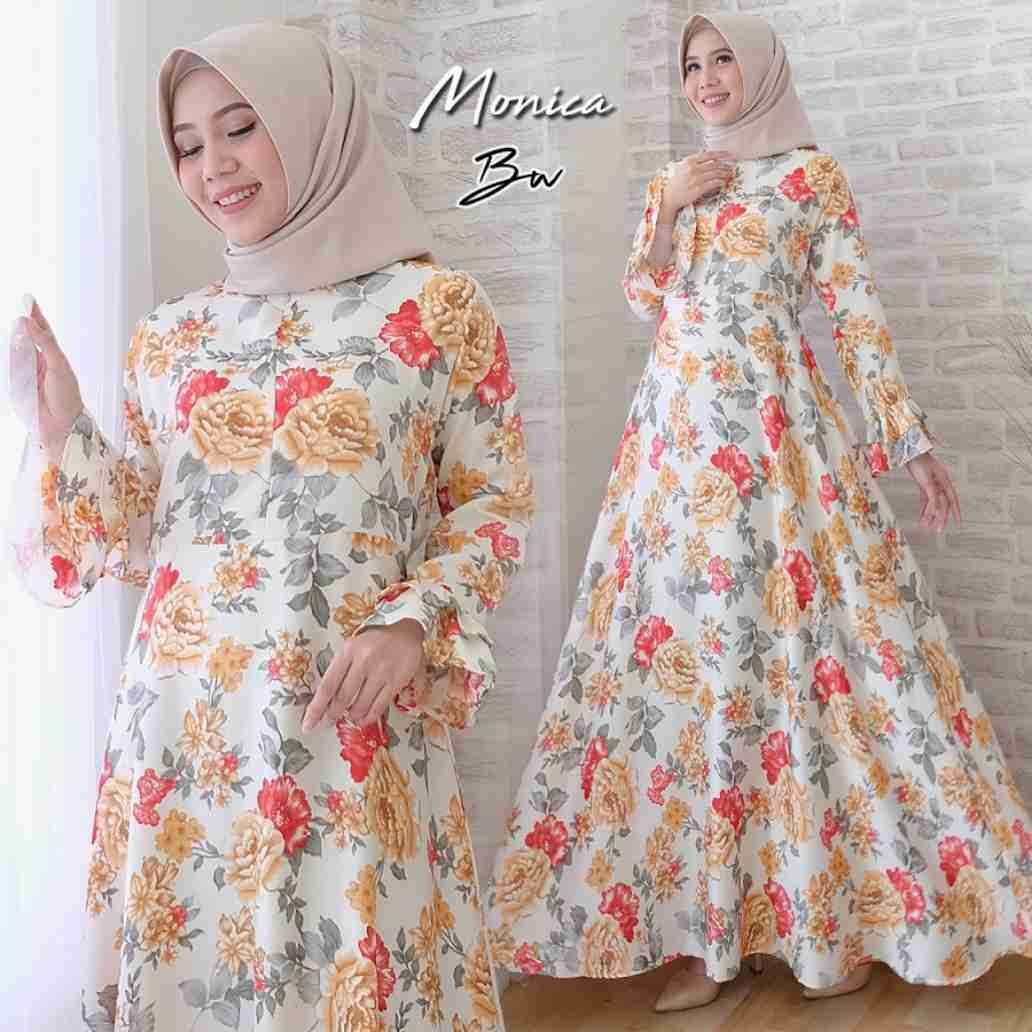 Model Baju Gamis Bahan Sifon Motif Bunga  Dresses with sleeves