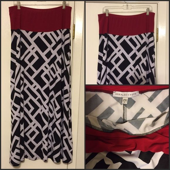 Geometric Patterned Skirt Black and white geometrically patterned skirt with contrasting deep red waistband. EUC. Annalee & Hope Skirts Maxi
