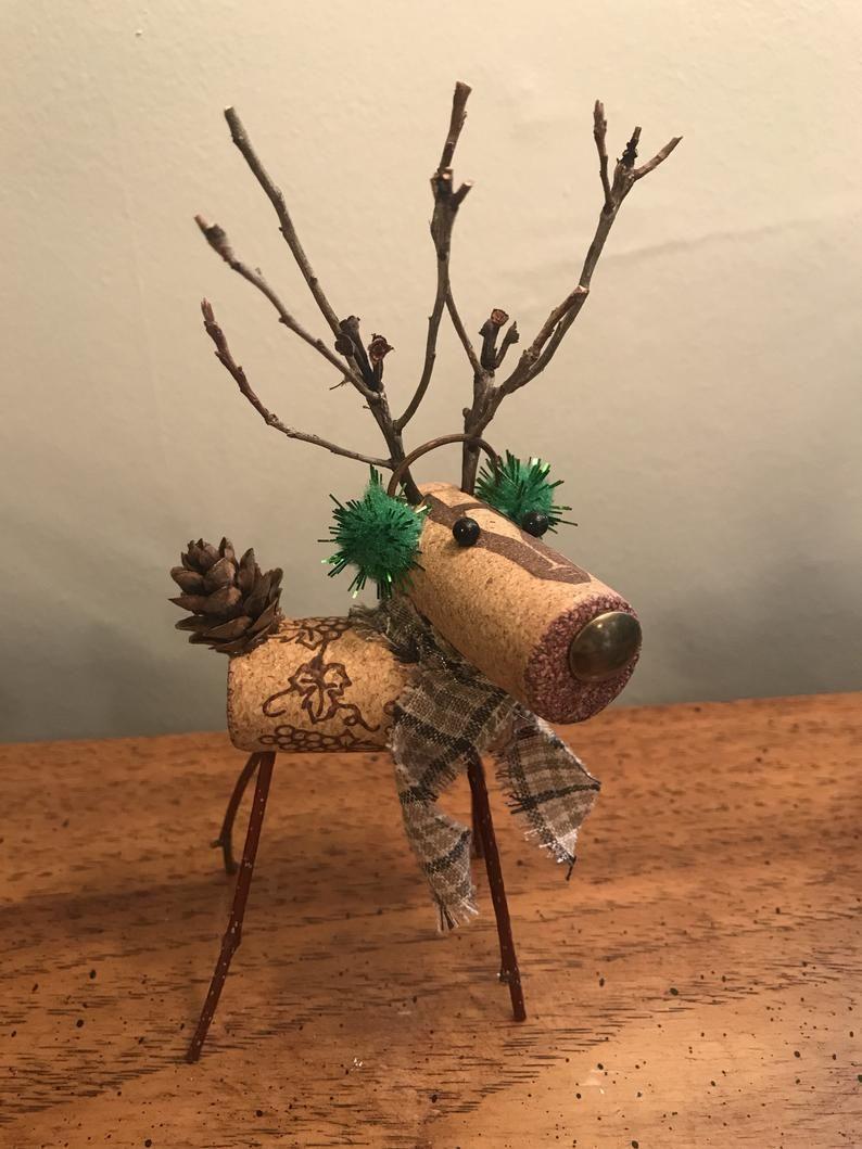 Wine Cork Reindeer Reindeer With Green Ear Muffs Wine Cork Etsy In 2021 Wine Cork Crafts Christmas Cork Crafts Christmas Christmas Crafts Diy