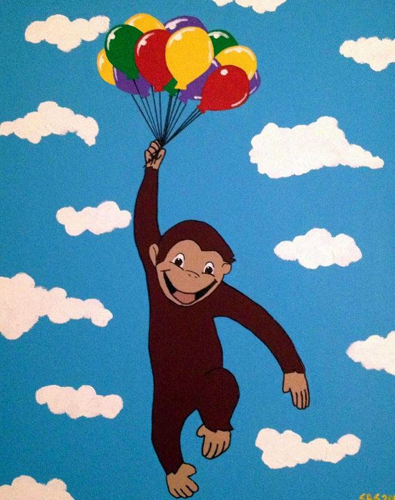 Curious george painting by bluetomatoart on etsy for Curious george mural