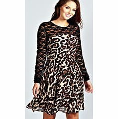 bda731c78c92 boohoo Aaliyah Lace Long Sleeve Animal Print Skater It s the skater skirt  with attitude