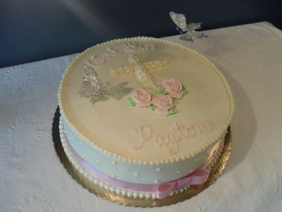 Girls Pink 1st Communion Cake By Swede-cakes on CakeCentral.com