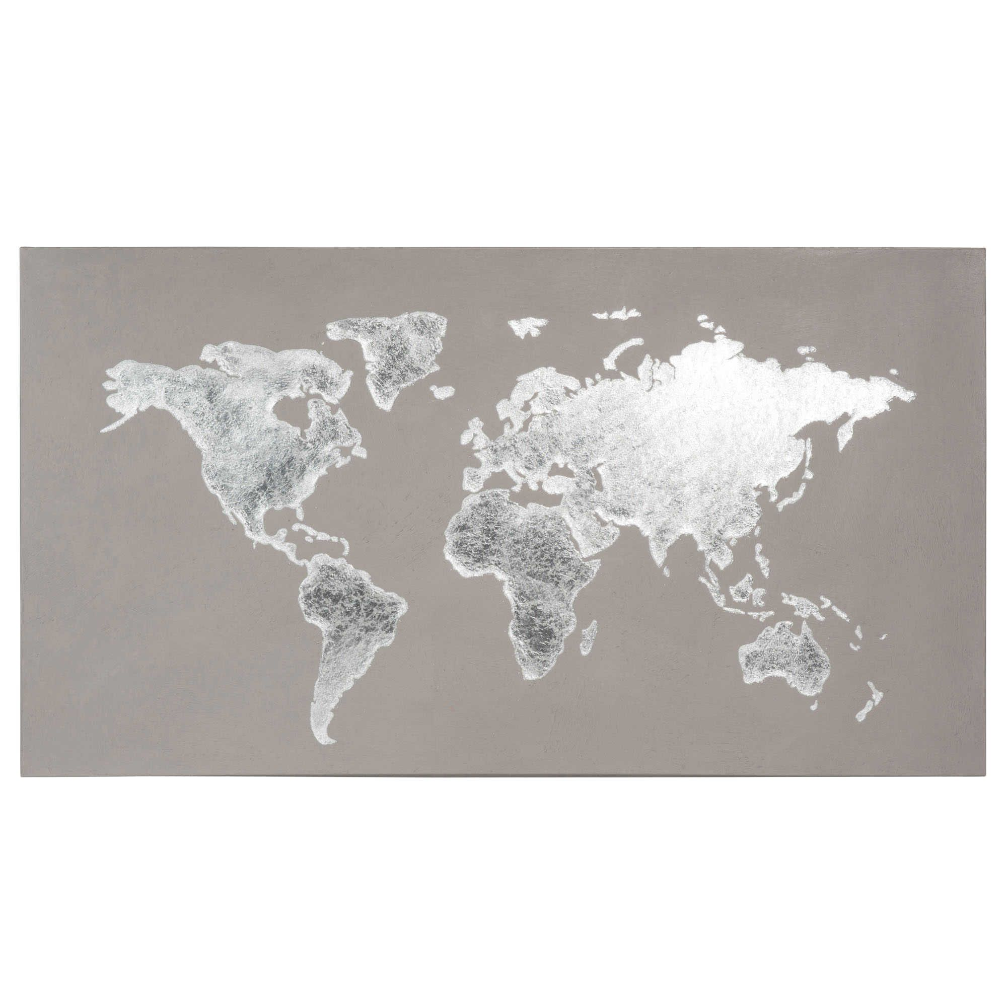 Toile mappemonde grise 110x60 gallery wall room ideas and decoration silver grey world map canvas on maisons du monde gumiabroncs Gallery