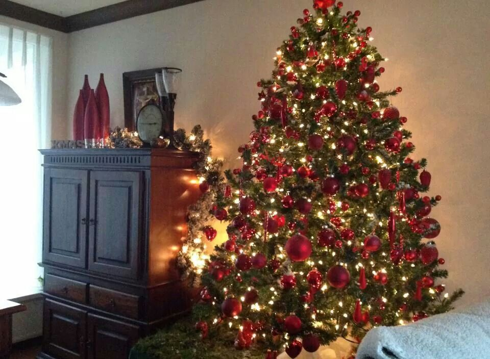 Kerstboom In Het Rood Kerst Kerstboom Kerstmis