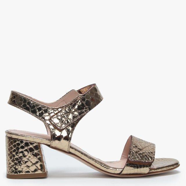 13f8964fb94 Daniel Petro Gold Metallic Leather Reptile Block Heel Sandals ...
