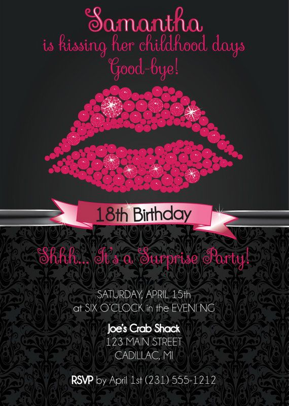18th Birthday Invitation, 18th Birthday Party Invitation - Hot Pink Lips Party Invite