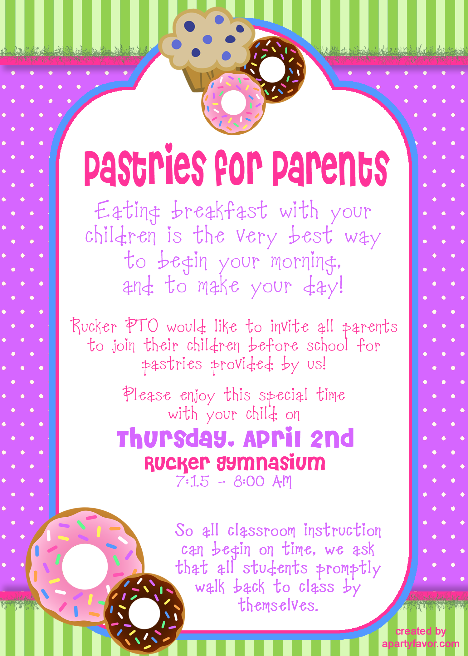 Event Flyer for Pastries for Parents | principal | Pta ...