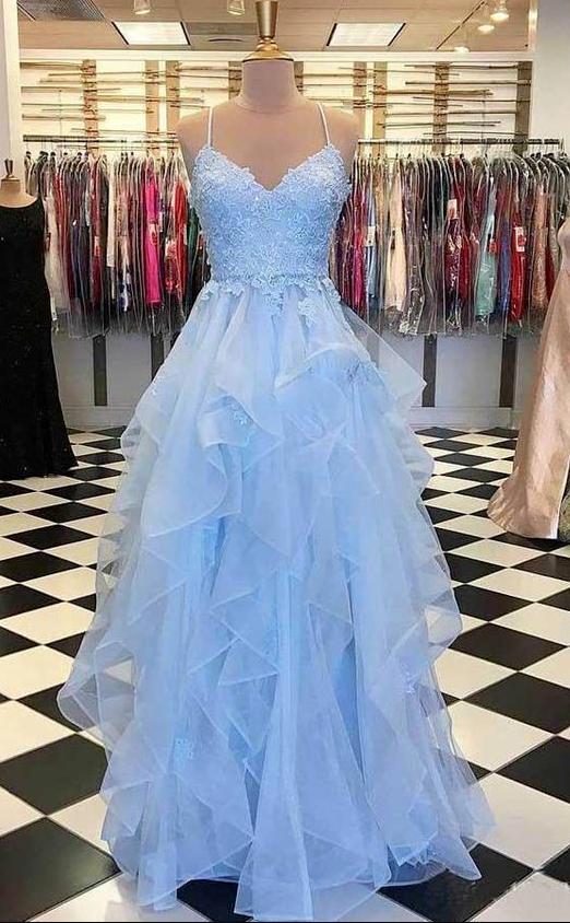Photo of Charming A Line Light Blue Spaghetti Straps Prom Dresses Swe…
