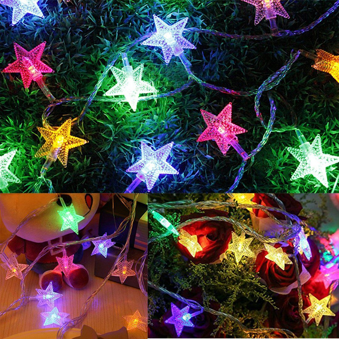 Colored star led string lights weatherproof indoor outdoor christmas colored star led string lights weatherproof indoor outdoor christmas light strands with socket connector33 aloadofball Gallery