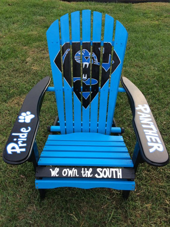 Hand Painted Carolina Panther Adirondack Chair By Farfetchedstudio Chairs Outdoor Panthers
