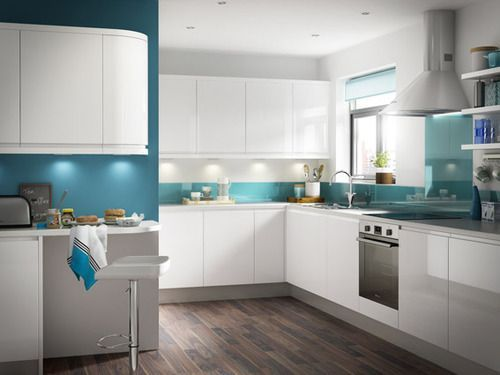 White Gloss Kitchen Units Blue Duck Egg Walls Wooden Floor