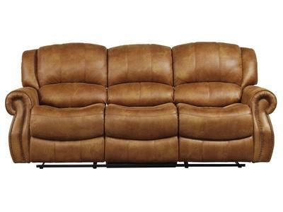 Best This Plush Saddle Colored Faux Leather Sofa Reclining 100 400 x 300