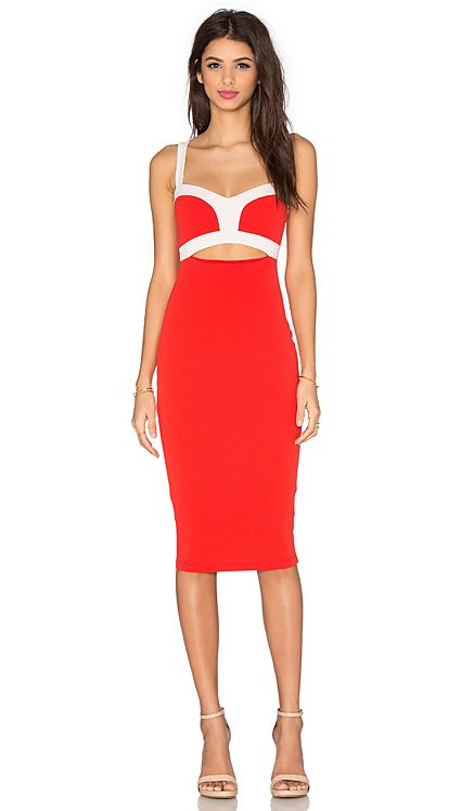 Nookie Tiana Bustier Dress In Cherry Amp White Revolve