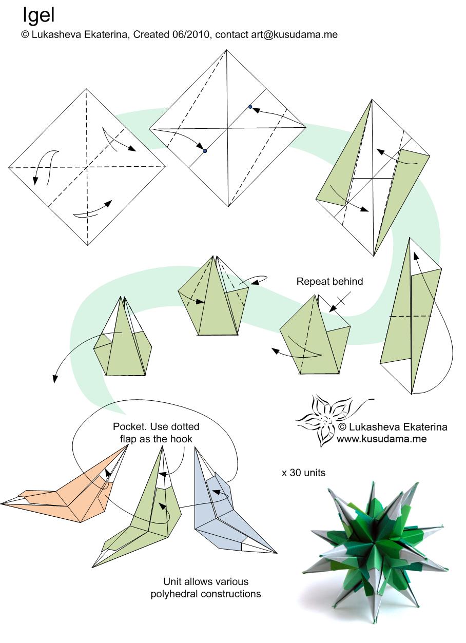 cool modular origami diagram pir sensor light wiring kusudama igel diy paper diagrams noel blume and kirigami