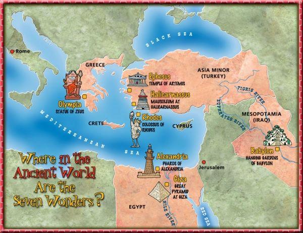 carte du monde antique Les sept merveilles du monde antique et moderne | Ancient world