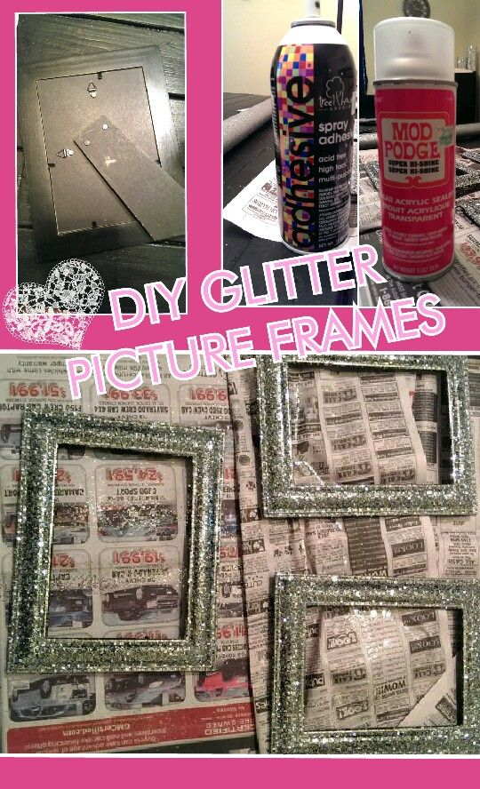 Diy Glitter Frames Remove Glass And Backing Spray With Adhesive