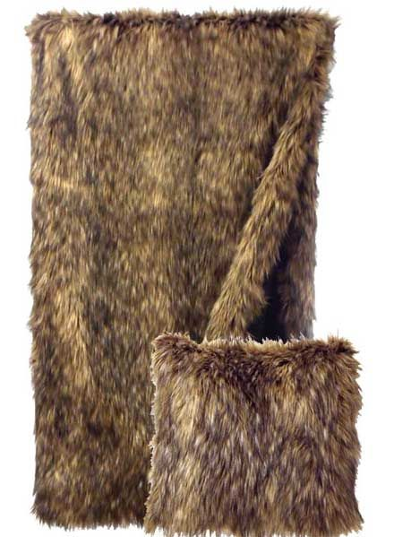 Coyote Faux Fur Pillow And Throw Set Great For Decorating Great