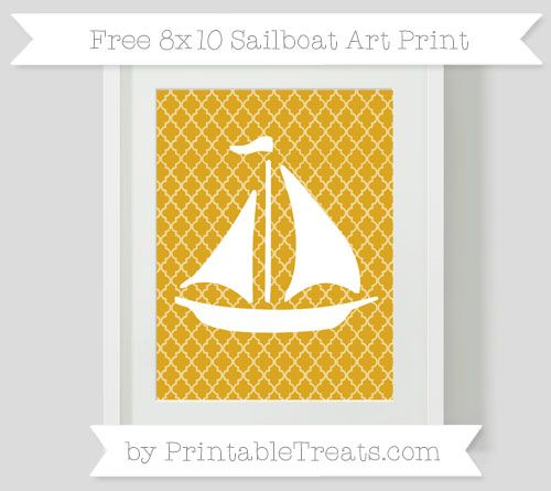Goldenrod Moroccan Tile  Sailboat 8x10 Art Print