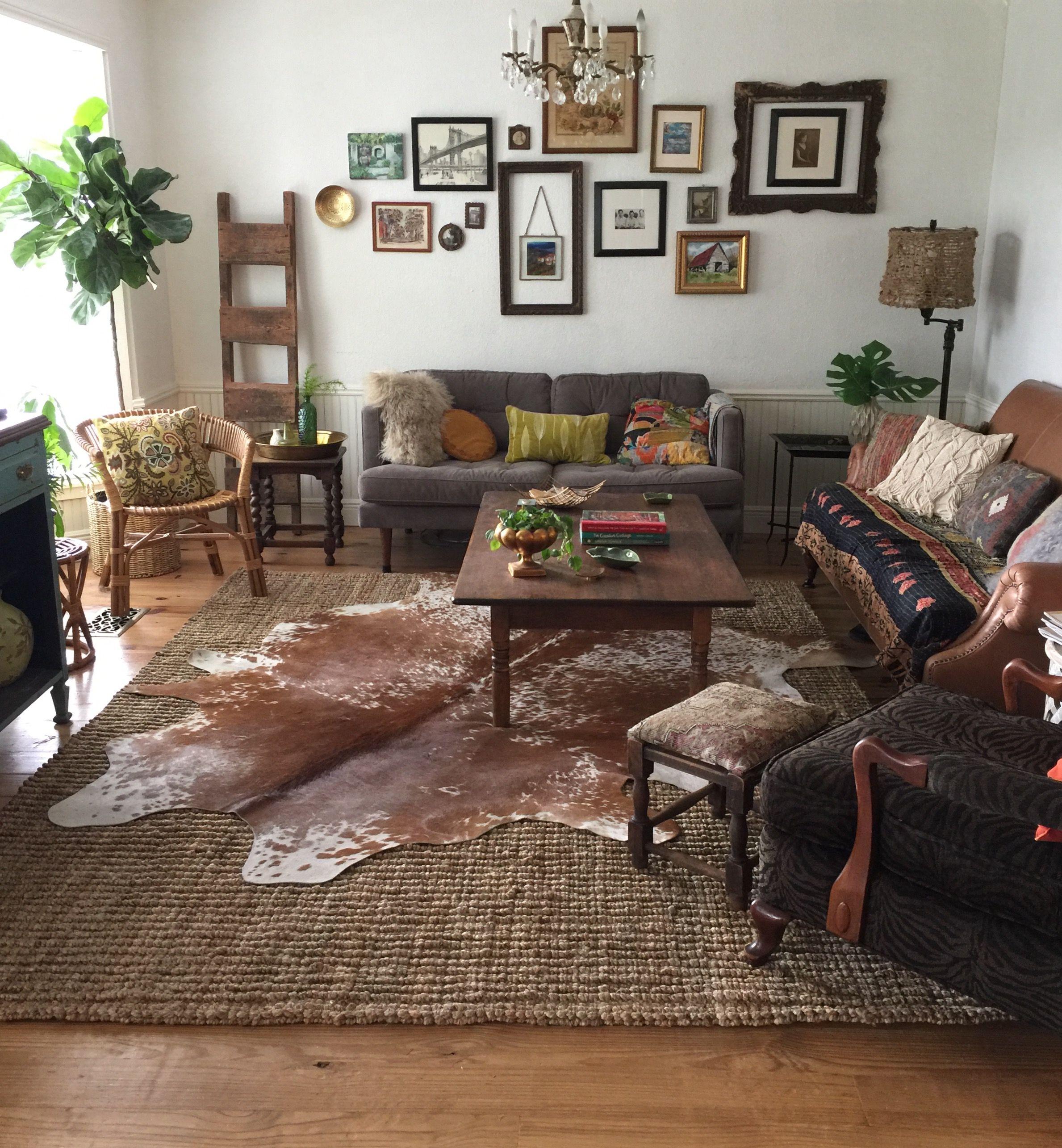 Best Cowhide Rug Jute Rug Layered Rugs Boho Living Room 400 x 300