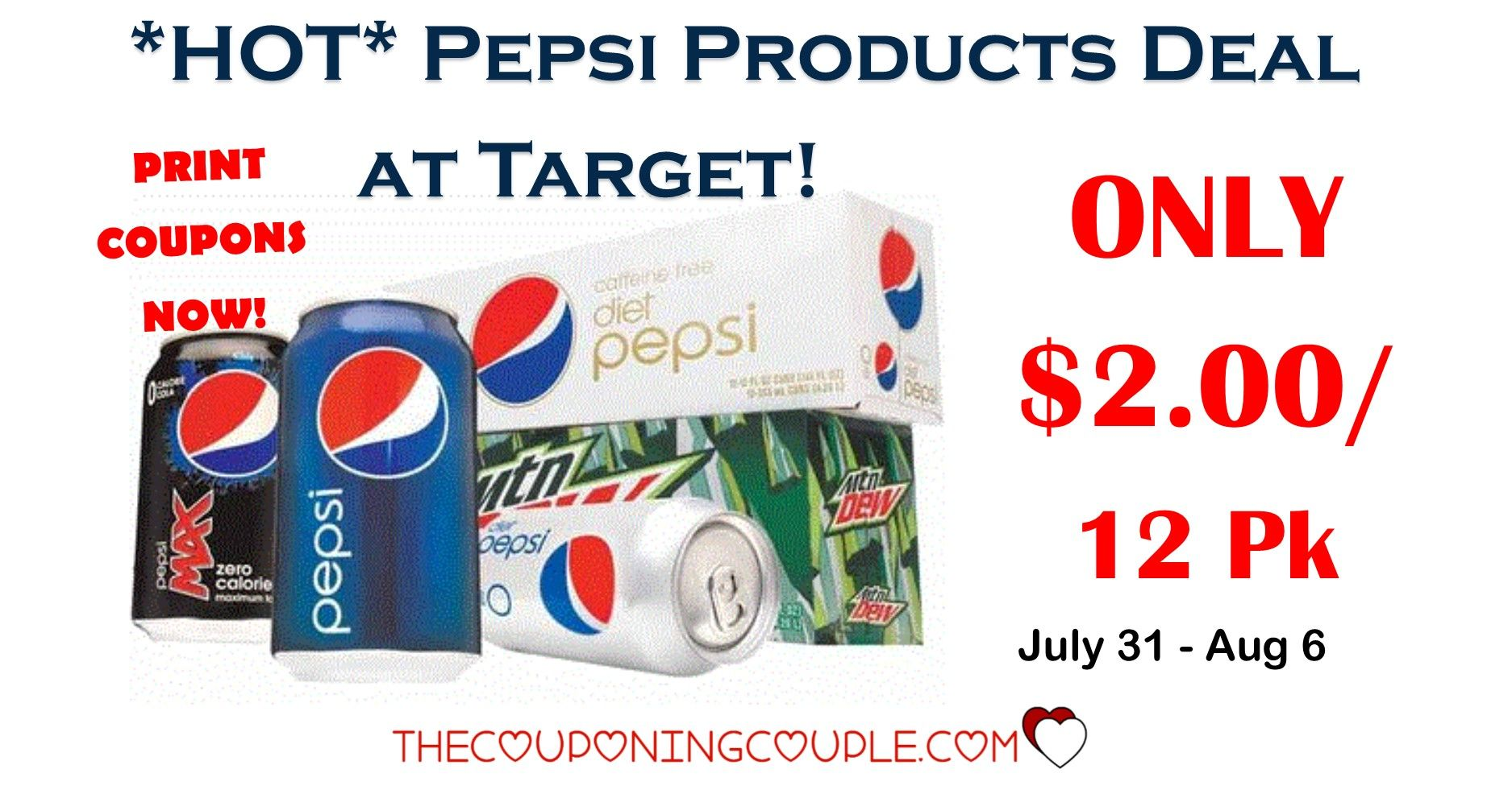 Hot Pepsi Products 12 Packs Cans Or 6 Pack Bottles 2 13 Target Pepsi Gift Card Deals Grocery Coupons