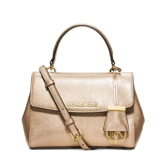 d68eaa859ca58 MICHAEL Michael Kors Ava Small Saffiano Leather Satchel Gold ...
