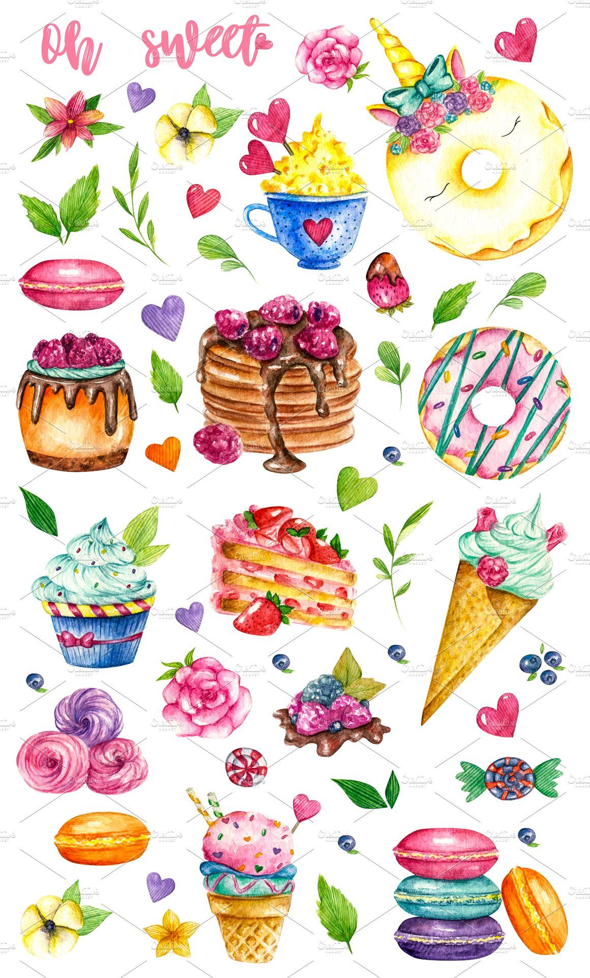 Sweets Desserts Watercolor Clipart Watercolor Clipart Watercolor Illustration Postcard Printing