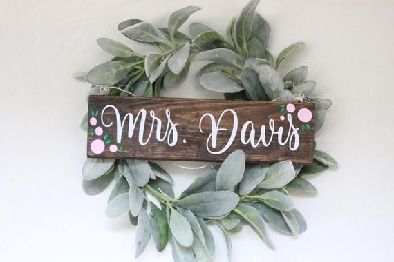 Custom Teacher Name Sign Wreath - Wreath Option - hanging wood name sign - teacher door hanger - floral classroom decor - custom teacher #classroomdecor