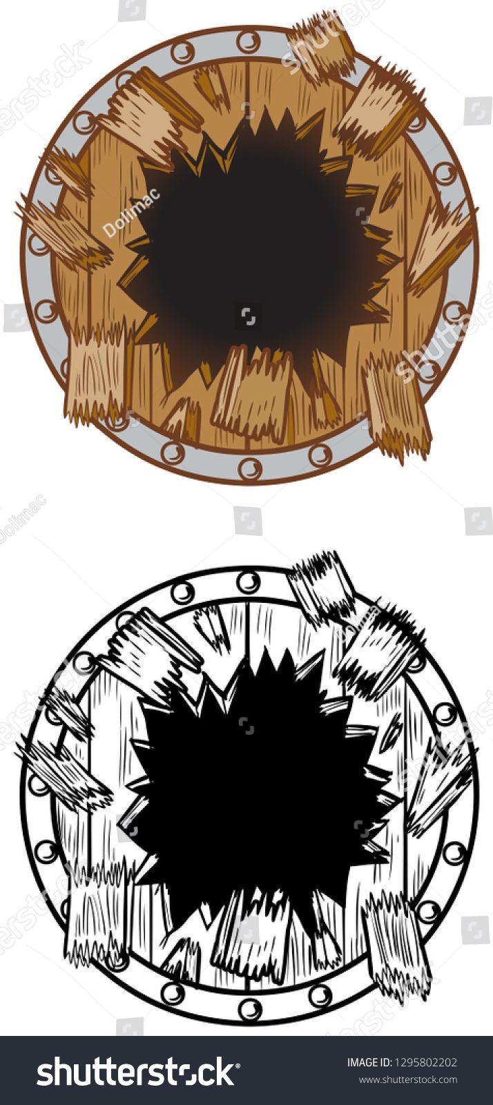 Vector cartoon clip art illustration of a hole in a wood