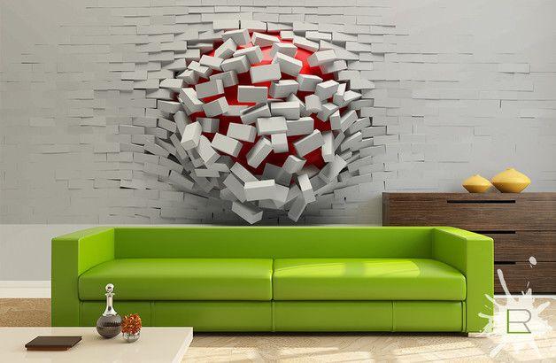 Wall Mural 3d Ball In Wall Cool Wall Art Wall Decor Design Living Room Art