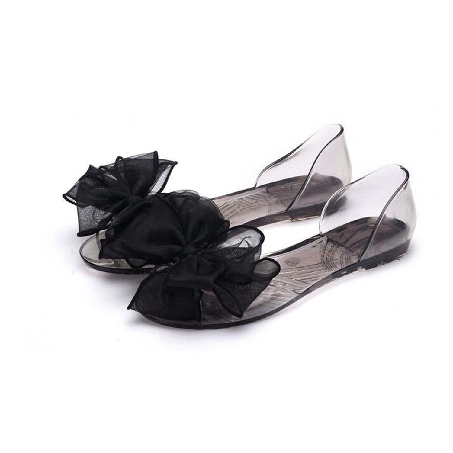 Angelliu Women Bohemian Flower Decoration Peep Toe Summer Beach Clear Jelly Sandals Flats *** To view further for this item, visit the image link.