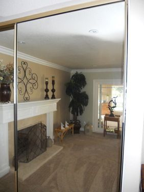 Replacing Trim On Mirrored Sliding Closet Doors   Houzz    Paint With  Rustoleom Paint Tinted Silver Or White.