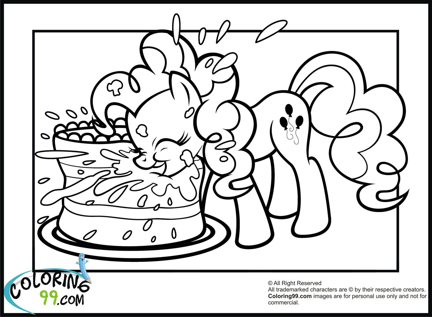 Pinkie Pie Coloring Page Full Sheet Of Paper Size Horse