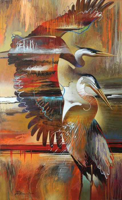 Abstract Modern Painting, Blue Heron - Artist Tim Parker ...