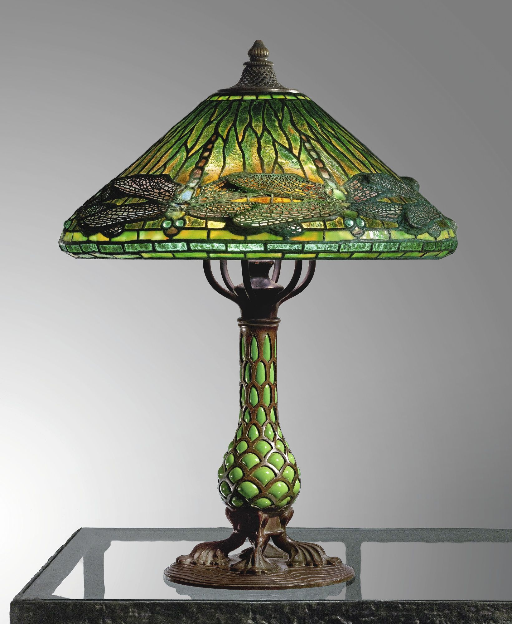 Tiffany Studios Dragonfly Table Lamp With A Rare Reticulated