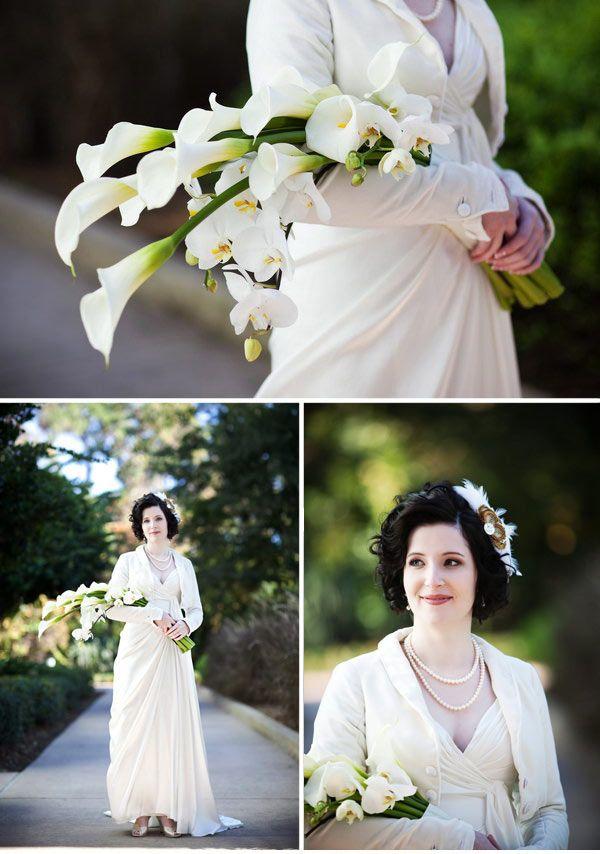 A Florida Art Deco Wedding Art Deco Wedding Flowers White