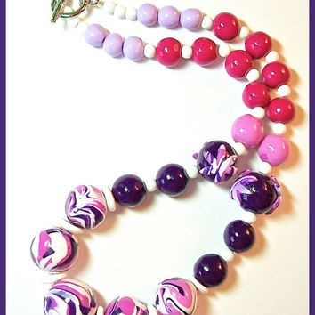 Bright and Bold Purple Magenta Necklace and Earrings Set Handcrafted  Polymer Clay Swirl Beads Statement Necklace 5028e98174