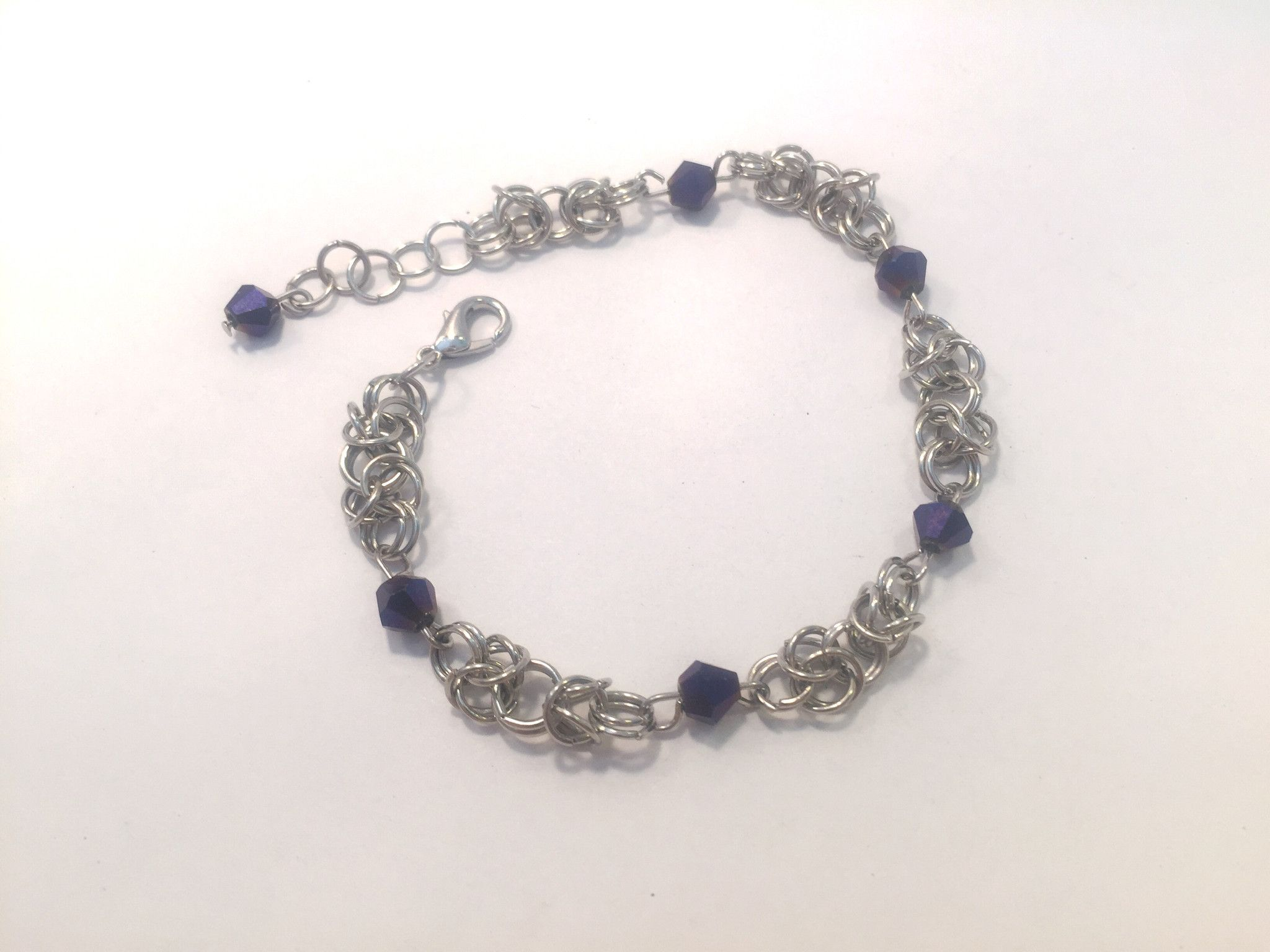 Byzantine purple crystal chainmail bracelet
