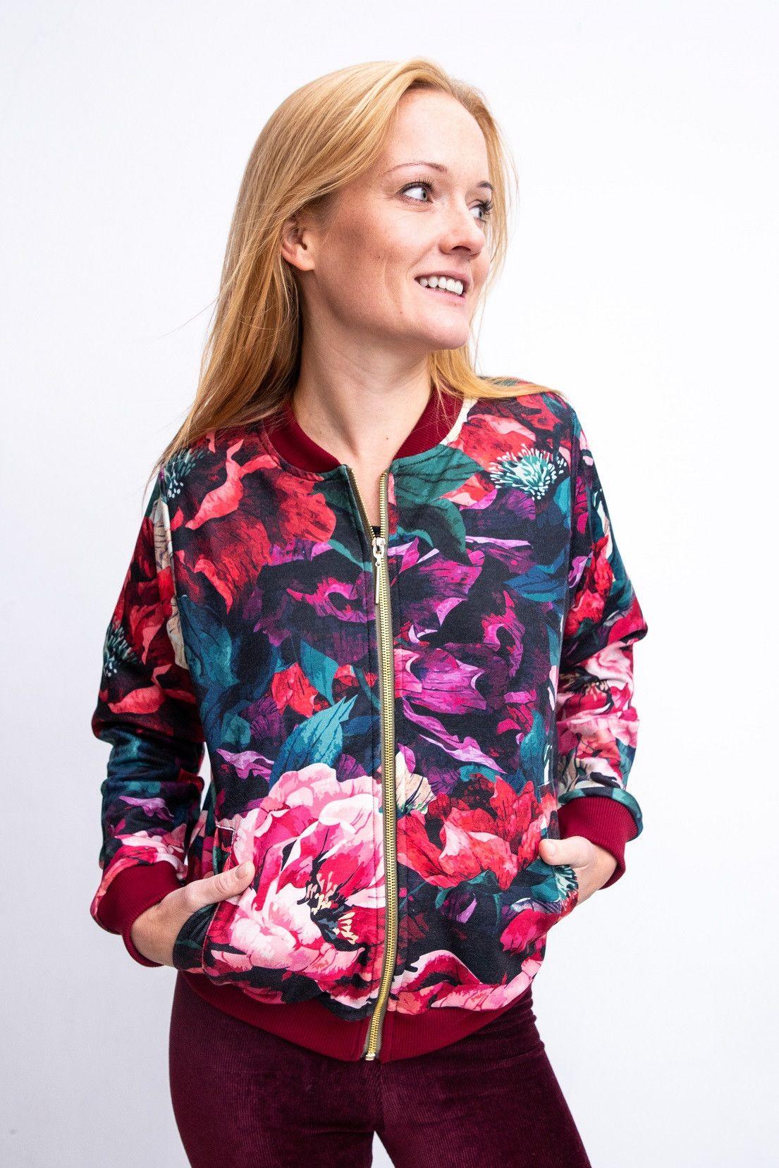 Bluza Kwiaty Dziendobrysklep Clothes Athletic Jacket Red Leather Jacket