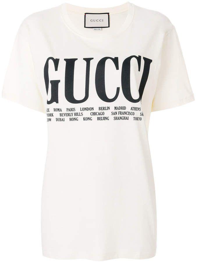 a3c4a774e51 Gucci cities print T-shirt