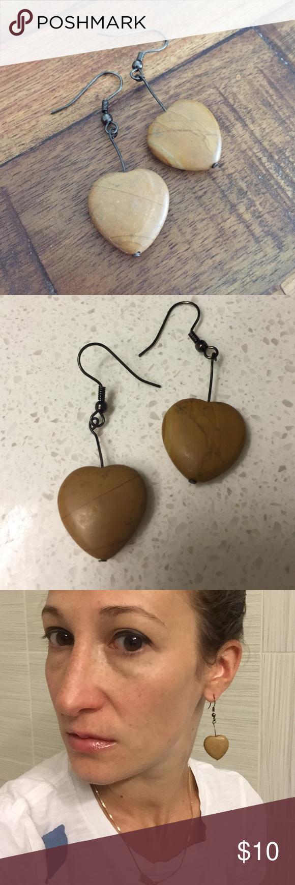 Wooden heart drop earrings Wooden heart drop earrings. Warm honey color Jewelry Earrings