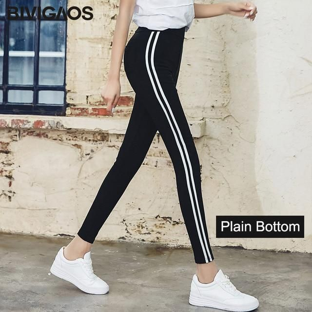 Fall Spring Women White Side Stripes Leggings Casual Notch Bottom Skinny Slim Pencil Pants Woven Ninth Pants Plain Bottom XL #stripedleggings