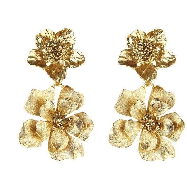 dea347ab05b Oscar de la Renta Bold Flower Drop Earrings ($245) ❤ liked on Polyvore  featuring