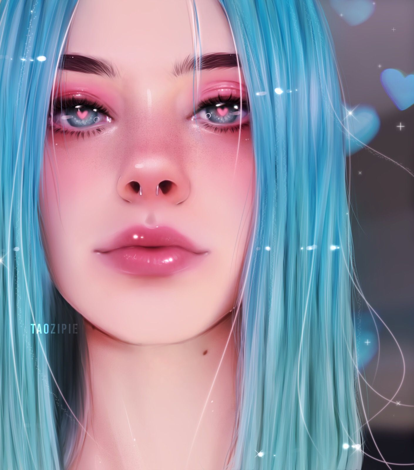Love And Other Things Visualartzi Digital Art Romance Eyes Character Design Blue Hair Hearts Reali Digital Art Girl Digital Portrait Art Girls Cartoon Art